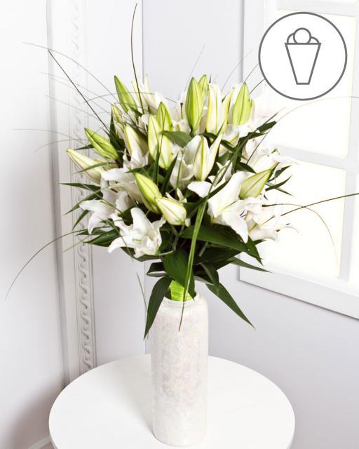 Részvétcsokor fehér liliommal