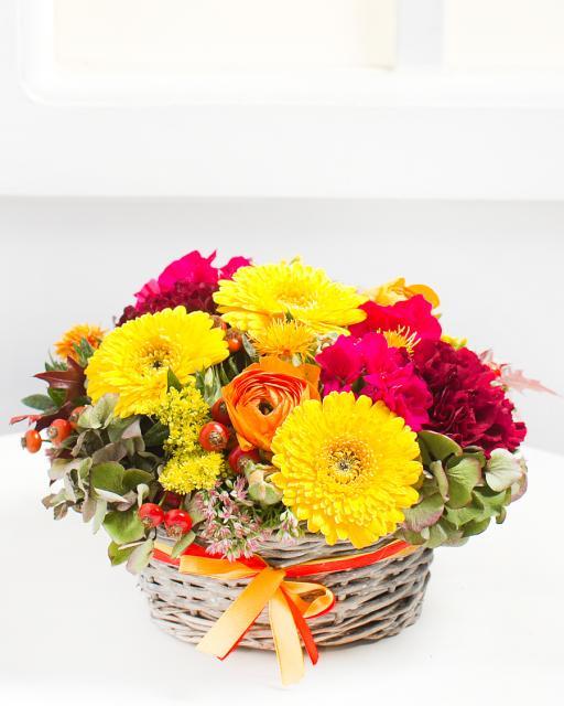 Színes virágkosár