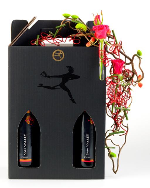Vörös és fehérbor ajándékdobozban